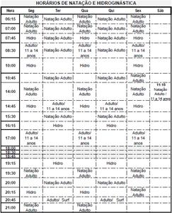 Academia Acqua Ville - Horários das aulas de natação e hidroginástica